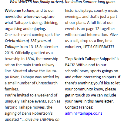 Talk Up Taihape – June 2019
